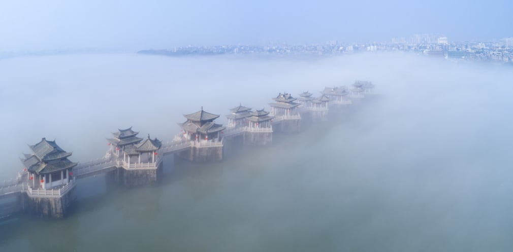 Heavy fog covers the Guangji Bridge, Chaozhou, China. (Getty Images)