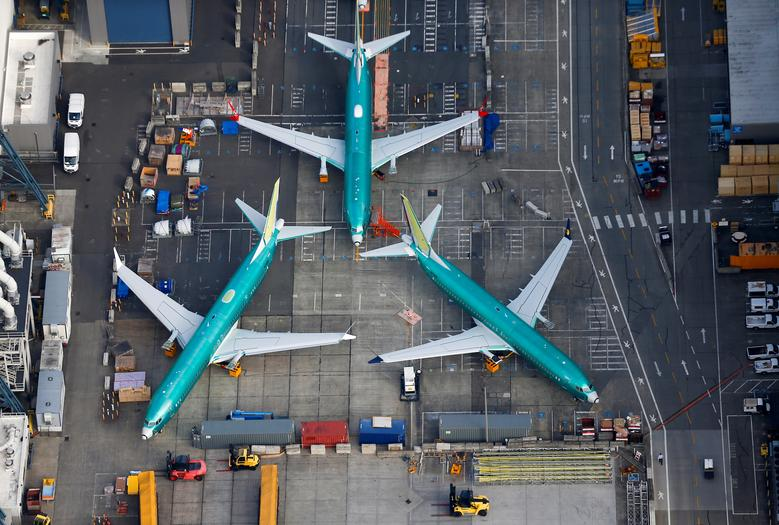 An aerial photo shows Boeing 737 MAX airplanes parked on the tarmac at the Boeing Factory in Renton, Washington. REUTERS/Lindsey Wasson