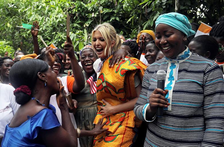 White House Advisor Ivanka Trump dances as she meets women entrepreneurs at a demonstration cocoa farm in Adzope, Ivory Coast April 17. REUTERS/Luc Gnago