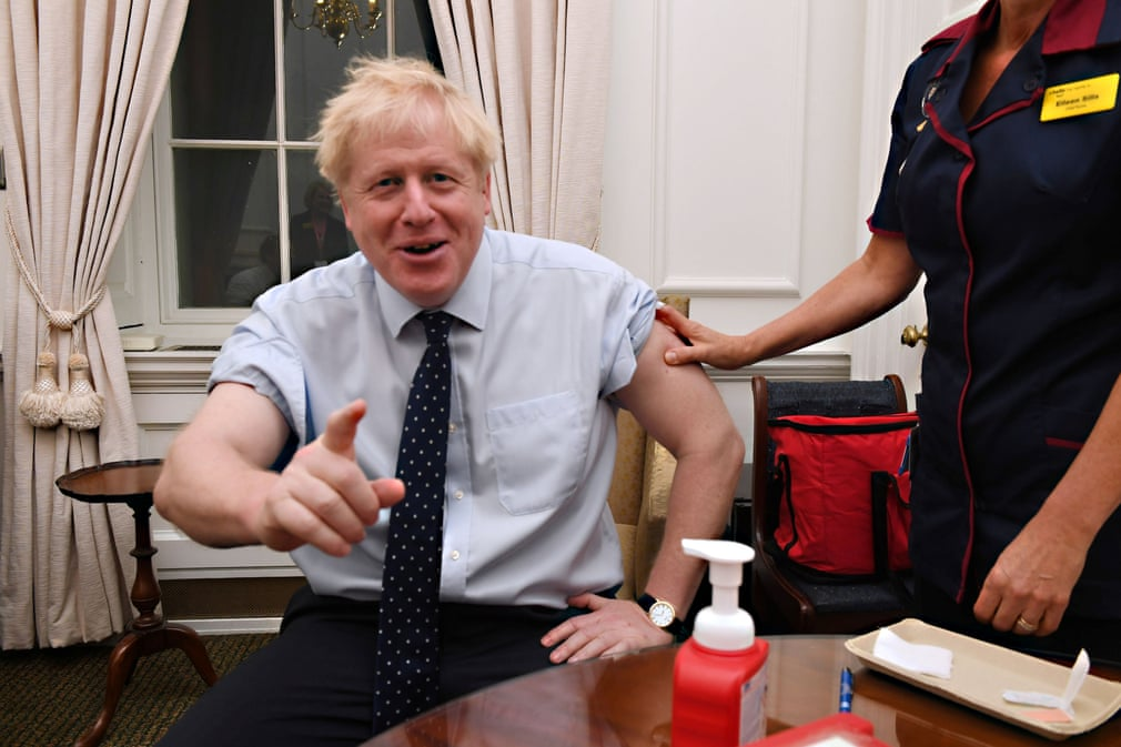 Prime Minister Boris Johnson receives a flu inoculation at his Downing Street office, London, UK. (Reuters)