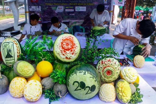 People visit a five days watermelon and melon fair in Yangon on February 29, 2020. (AFP)