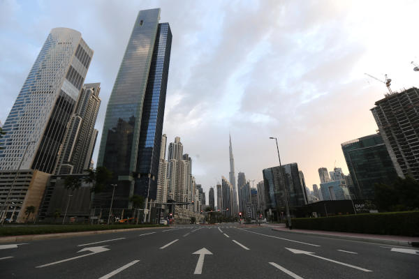 A general view of Business Bay area, after a curfew was imposed to prevent the spread of the coronavirus disease (COVID-19), in Dubai, UAE, March 28, 2020. (Reuters)