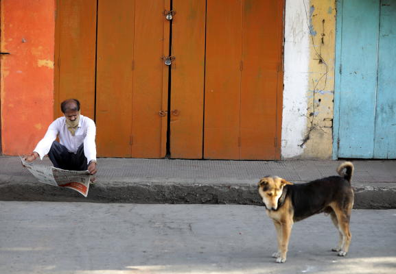 An Indian man reads news paper next to a dog during a lockdown on March 30, 2020. (EPA)
