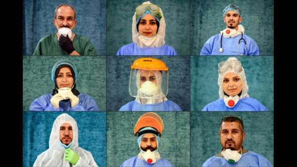 Iraq: This combination of pictures shows medical staffers on the frontline treating patients of the COVID-19 coronavirus pandemic, posing for a picture while on break at al-Hakim General Hospital in Iraq's central shrine city of Najaf.  AFP / Haidar HAMDA