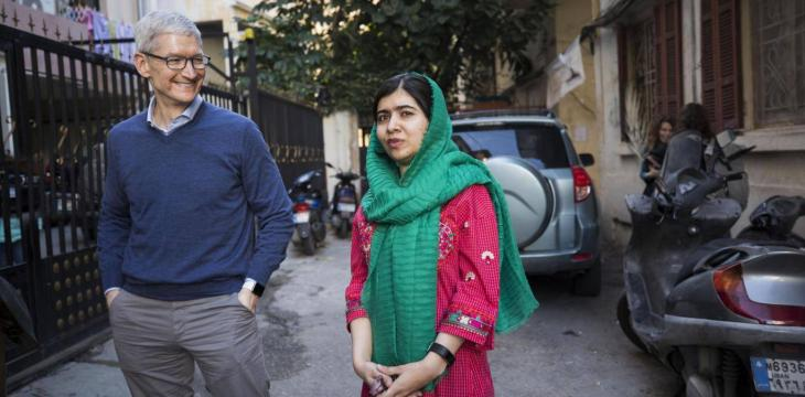 Malala, Apple Chief Executive Meet in Beirut to Announce Education Partnership