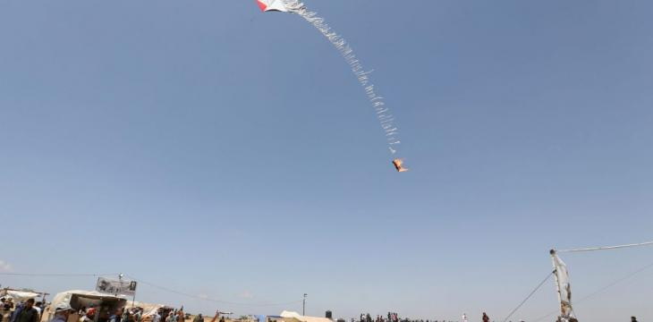 Israel Continues to Combat Fire Kites Launched from Gaza