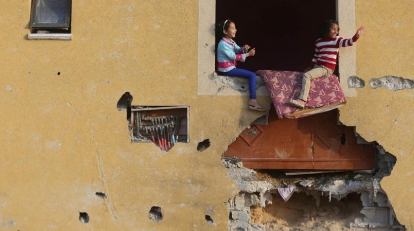 Palestinian girls at their family's house in Khan Younis in the southern Gaza Strip