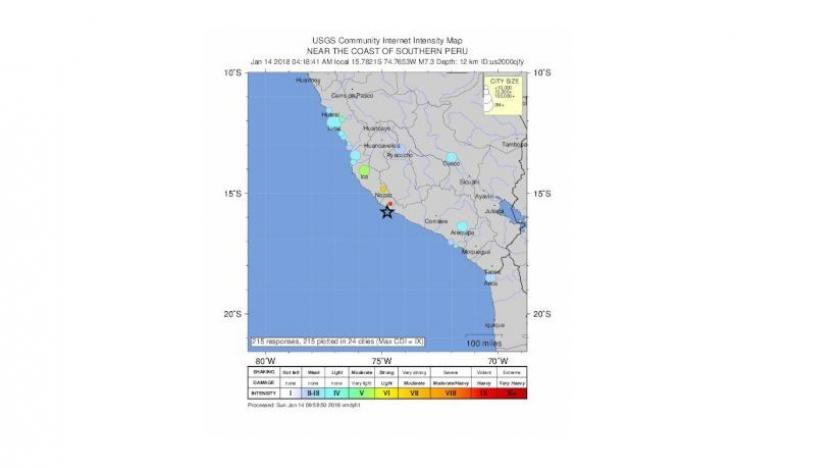 Strong quake  hits coast of southern Peru, minor damage reported