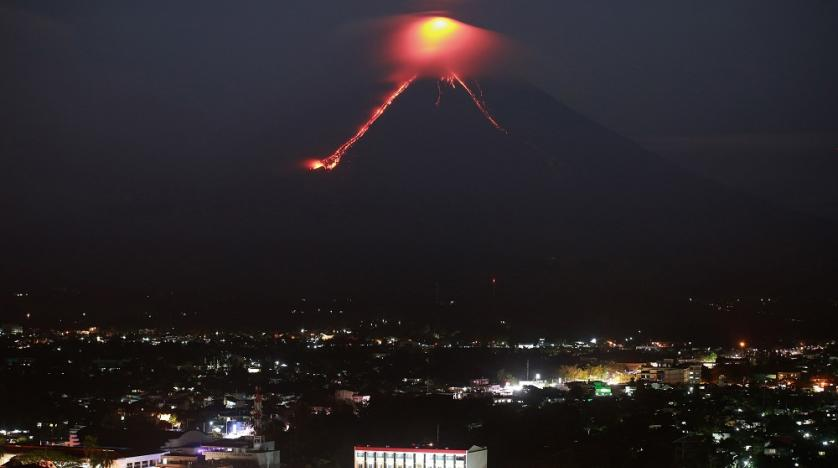 Lava from the Mayon volcano erupts in Legazpi the Philippines