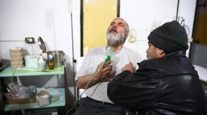 A man is seen at a medical center in Douma Eastern Ghouta in Damascus Syria