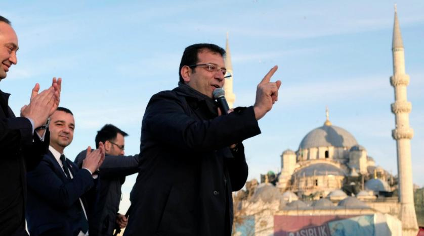 Ekrem Imamoglu during an electoral campaign in Istanbul on March 28