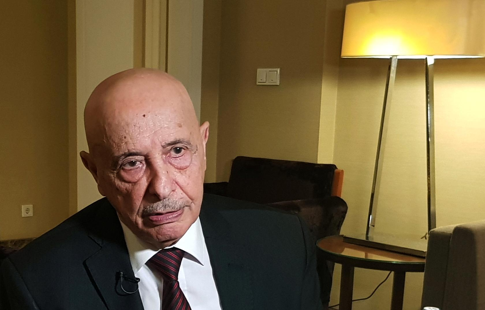 Aguila Saleh to Asharq Al-Awsat: Haftar, Sarraj Meeting is Impossible
